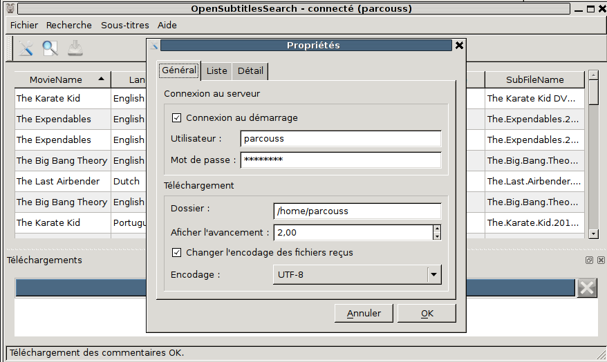 properties dialog, in french